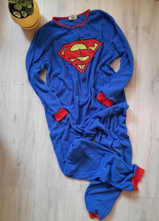 Кигуруми пижама мужская супермэн флисовая флис домашняч одежда