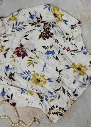 Блуза рубашка классная в цветочный принт marks&spencer uk 14/42/l