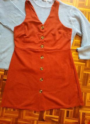 Платье сарафан красивого кирпичного цвета!