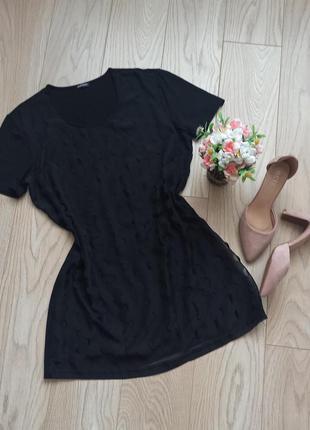 Короткое черное платье футболка, р.m-l