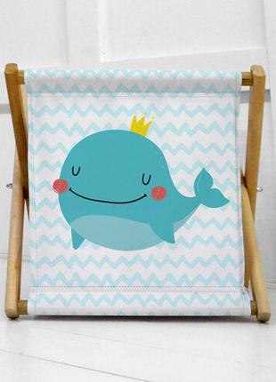 Складной ящик для хранения детских игрушек с китом (kor_21s036)