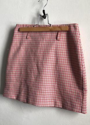 Pull&bear юбка в клетку короткая школьная розовая юбка теннисная