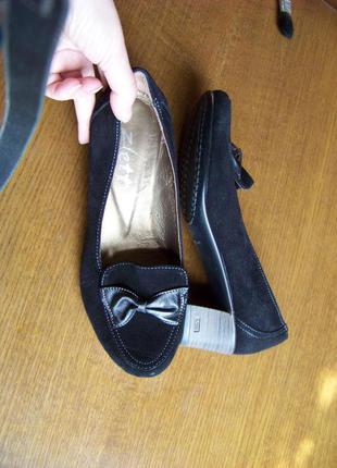 Натуральные замшевые лоферы туфли с бантом zett 39р стелька