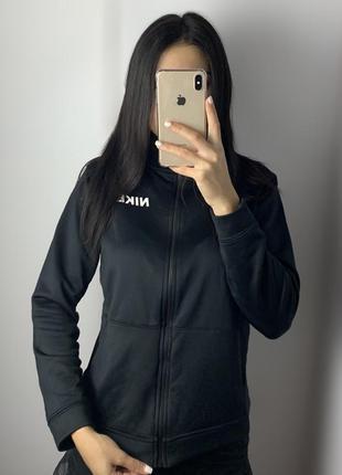 Женская спортивная кофта nike чёрная олимпийка зип худи свитшот найк
