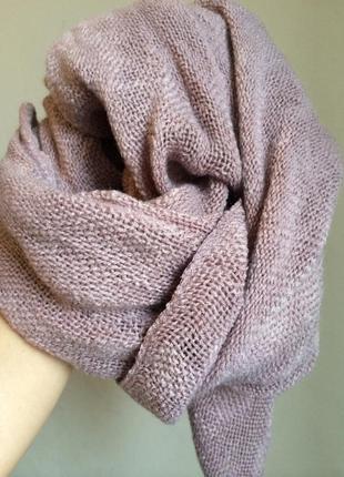 Элитный шарф лана франция лилово-бежевый