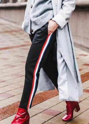 Штаны брюки с полосами лампасами zara