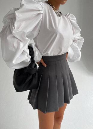 Трендовые юбки  плиссе🤩 костюмная ткань, подкладка шортиками 🌈 чёрные, белые и серые  〰️арт. 350 🔻размеры: м-42, l-44, длина 36см