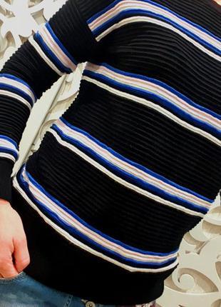 Рельефный свитер женский черный в полоску  плотный бренд бренд f&f m британия свитшот