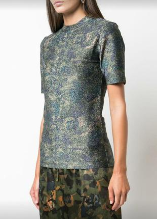 Стильная футболка,блузка с металлическим блеском ganni