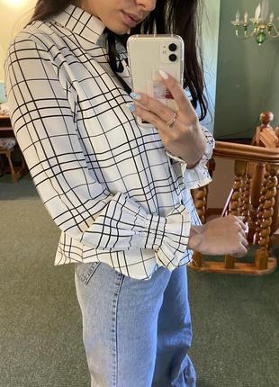 Рубашка в клеточку с бантиком