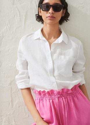 Льняная рубашка просторная блузка с карманом оверсайз премиум лён