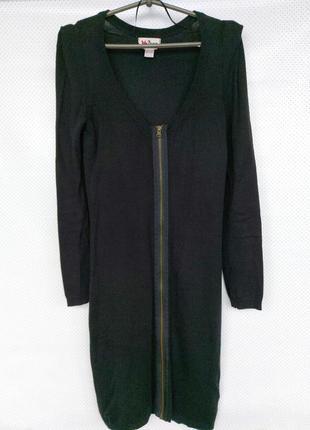 Трикотажное натуральное теплое платье на молнии