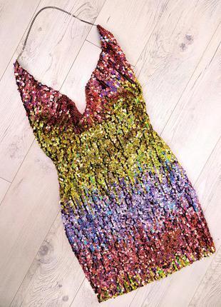 Плаття в пайетки цепочка вілкрита спинка декольте омбре