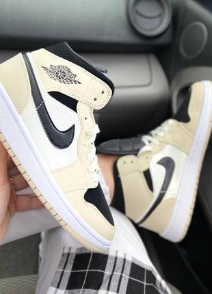 Женские кожаные кроссовки найк,air jordan 1 beige black