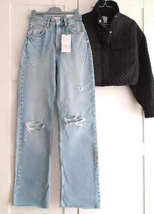 Прямые джинсы с высокой талией zara