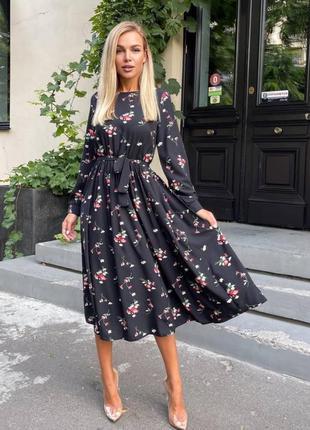 Легкое платье миди с цветочным принтом