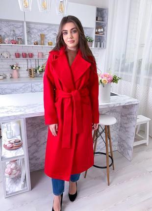 Красное пальто халат с поясом из кашемира