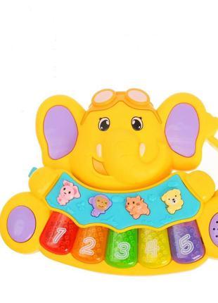 Детское игрушечное пианино 855-28a, 3 режима (желтый)