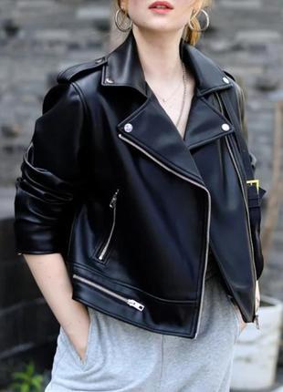 Байкерська куртка із штучної шкіри zara