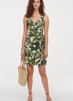Платье сарафан на запах из натуральной ткани модал+хлопок в тропический принт длины миди от h&m