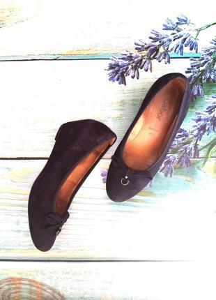 Туфли на танкетке натуральный замш 36 р gabor  sacchetto