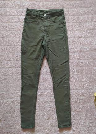 Джинсы брюки повседневные зауженные с высоким поясом хаки стрейч