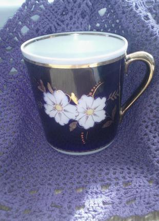 Чашка 350мл винтаж кобальт кобальтовая фарфор яблоневый яблочный цвет 1сорт.