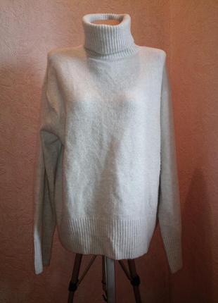 Вязанный костюм -свитер с горловиной+широкие вязаные брюки