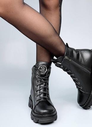 Ботинки шнуровка плейн черные