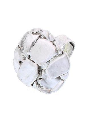 Геометрическое объемное кольцо матово-серебристое (испания)