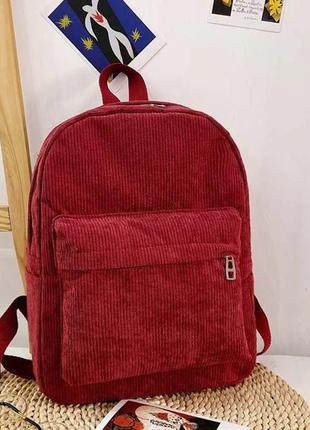 Женский бордовый вельветовый рюкзак код 3-425