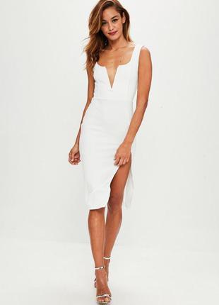 Белое миди платье