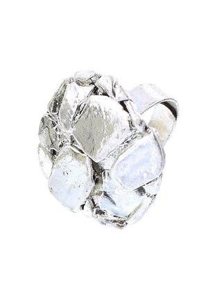 Геометрическое объемное кольцо глянцево-серебристое (испания)