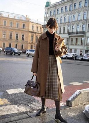 Модная стильная юбка в плиссировку миди плиссе в клетку