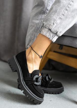 Женские туфли лоферы замшевые весна/осень черные