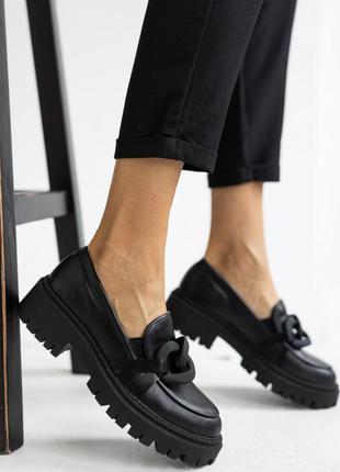 Женские туфли лоферы кожаные весна/осень черные