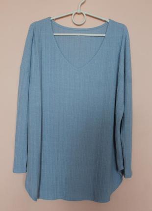 Голубая мелкой вязки хлопковая кофточка, кофта, свитер, свитерок батал 54-56 р.