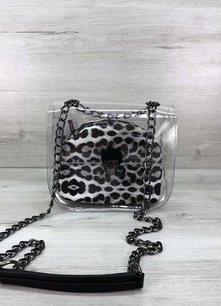 Маленькая силиконовая модная сумка с черно-белой косметичкой мини сумочка кросс-боди через плечо