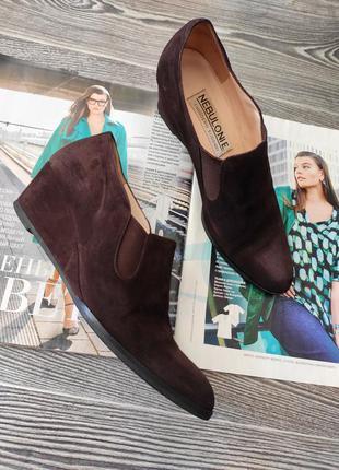 Туфли итальянские эксклюзивные закрытые  замшевые на платформе люксового бренда nebuloni 36 ручная работа