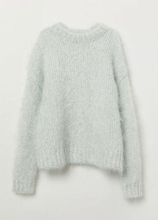 Светло-бирюзовый мохеровый свитер h&m