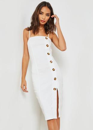 Классное миди платье с пуговицами