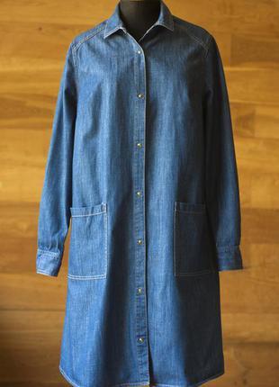Синее джинсовое платье рубашка женское франция, размер s, m