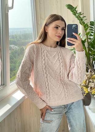 Плюшевый пудровый свитер 1+1=3