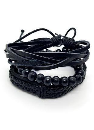 💣💥 набор черных мужских браслетов-фенечек 3 шт эко-кожа и дерево