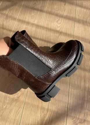 Ботинки шкіряні рептилія осінні зимові челсі резинка кожаные ботиночки осенние зимние