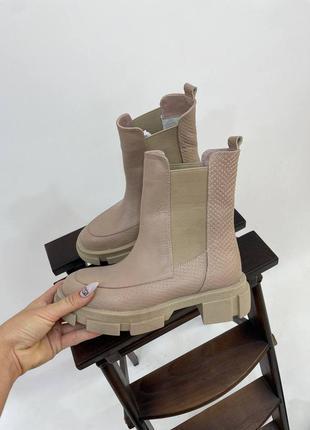 Ботинки з натуральної шкіри з тисненням під рептилію осінні зимові кожаные ботиночки челси осень зима