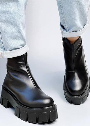 Кожаные ботинки на тракторной подошве флис
