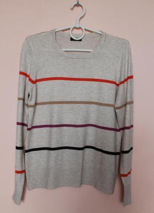 Бежевая в яркую полоску натуральная кофточка, кофта, свитер, свитерок, светр 48-50 р.