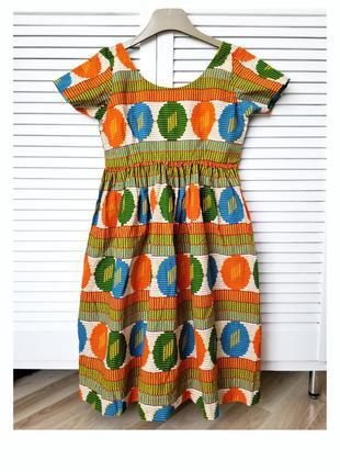 Хлопковое миди платье цветное платье котоновое абстракция