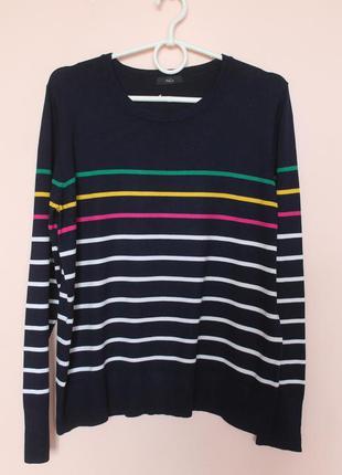 Тёмно синий в яркую полоску натуральная кофточка, кофта, свитер, свитерок, светр 50-52 р.